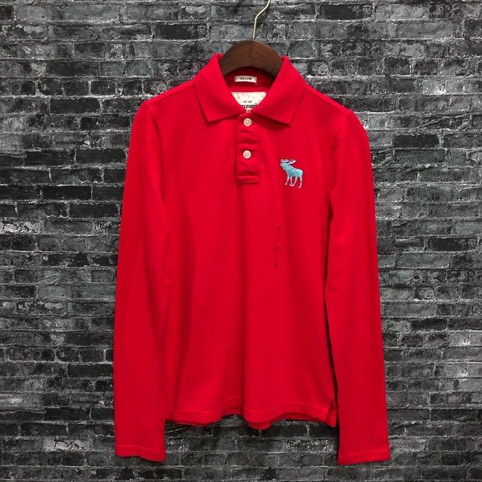 Maple麋鹿小舖 abercrombie&fitch * A&F 男童款紅色長袖麋鹿POLO衫 * ( 現貨XL號 )