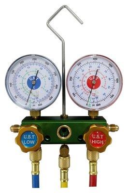 R410 R32 專用 高低壓錶組 冷煤工具 含壓力管5尺*3條 鋁質主體 UST-460G 台灣製造