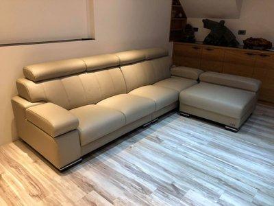 台中二手家具賣場 推薦 西屯樂居全新中古傢俱家電 BC822CE*全新半牛皮加厚L型沙發 左右可換*客廳桌椅 茶几 餐桌