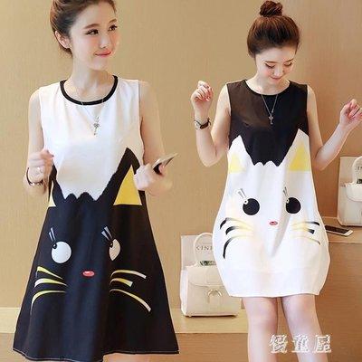 孕婦洋裝夏季時尚款中大尺碼新款卡通印花貓咪孕婦夏裝潮媽寬鬆裙子 QG5266