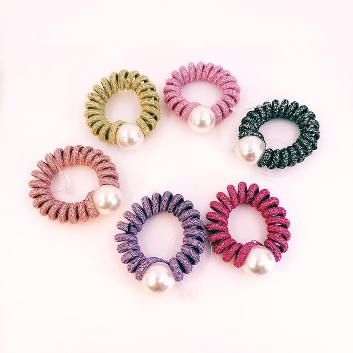 正韓國俏時尚美人 珍珠電話線彈力髮束  韓國製