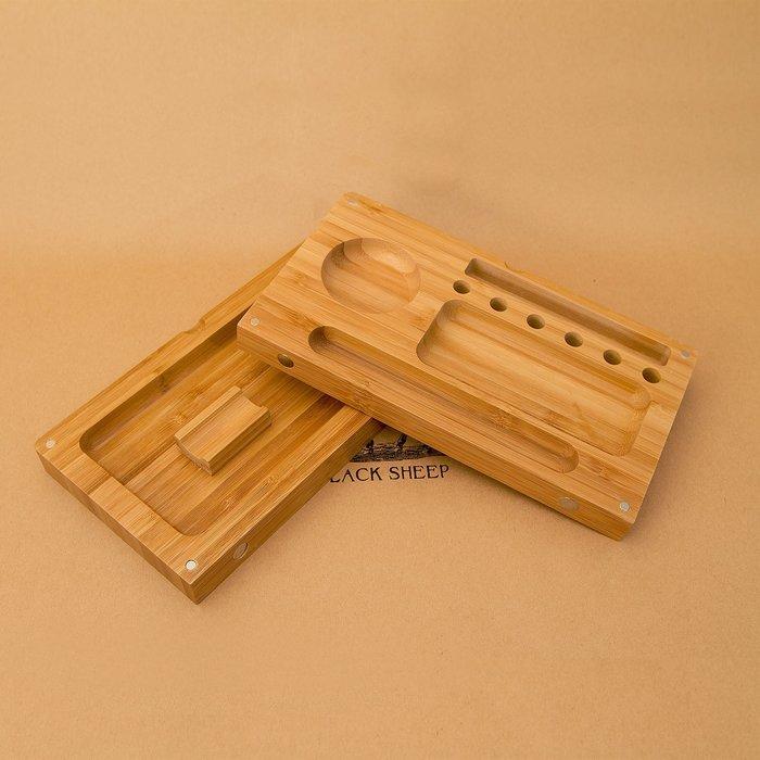 黑羊選物 雙層捲菸盤 類RAW木盤 實木製作 捲菸盤 磁石設計收納 可放置研磨器 捲菸 菸草 raw 煙斗 paper