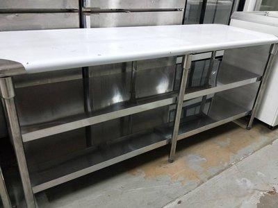 【吉林二手貨G1500012】3尺、4尺、5尺、6尺(三層)白鐵工作桌/白鐵不鏽鋼工作台/流理台/不銹鋼工作台
