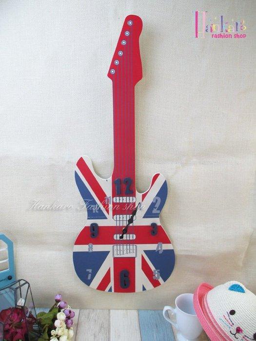 ☆[Hankaro]☆ 英國國旗木質創意吉他造型時鐘