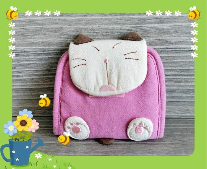 ? 【日本CARA卡拉貓】?卡拉貓可愛折疊小錢包純棉材質,可放證件信用卡內外拉鍊,贈零錢包