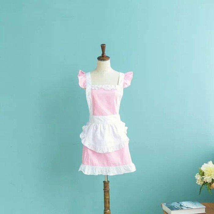UL 1216韓版甜美公主風純棉工作圍裙 廚房餐廳咖啡店 麵包店甜美圍裙 粉色