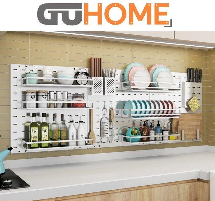 GUhome 碟架 碗架  調料架 304不銹鋼 洞洞板 廚房 置物架 省空間 壁掛 多層 調料架 瀝水 碗架 收納架