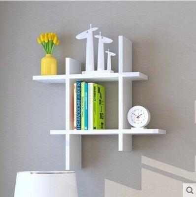 『格倫雅品』創意書架客廳擱架背景牆裝飾架子牆上置物架-白色