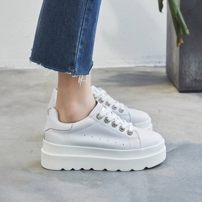 =WHITY=韓國GRAMMI品牌 韓國製  真皮韓國妹街拍厚底鞋FEND新款百搭增高軟底S7IY863