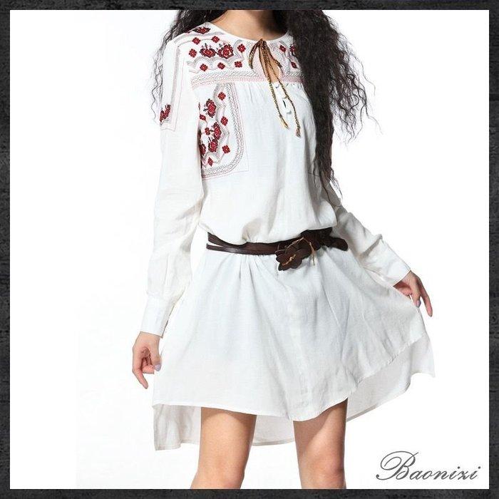 《現貨免運》 不規則 大碼 襯衫裙 復古刺繡連衣裙 洋裝 B9019 Baonizi 寶妮子
