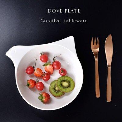 聚吉小屋 #熱賣#北歐風格簡約創意陶瓷飯盤餐盤菜盤鴿子造型盤子純白烤箱微波盤子(價格不同 請諮詢後再下標)