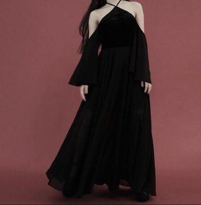 【黑店】原創設計 訂製款洋裝女巫系繞頸露肩天鵝絨拼接雪紡長洋裝 飄逸暗黑系露肩洋裝 宴會洋裝個性洋裝 BL101