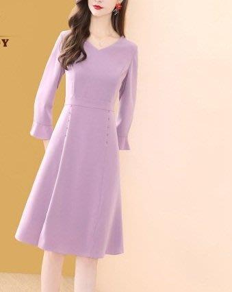 妞妞婚紗禮服~婆婆媽媽紫色V領A字裙修身洋裝連衣裙禮服 ~3件免郵