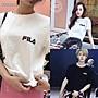 ila斐樂 寬鬆短T 純棉圓領短袖T恤 歐美爆款 時尚街頭英倫學院風 男女同款印花短T 情侶T恤