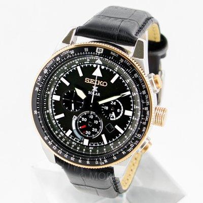 SEIKO SSC611P1 精工錶 45mm 太陽能 三眼計時 玫瑰金錶圈 黑皮錶帶 男錶女錶