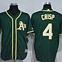 Athletics球衣MLB運動家隊棒球服4號CRISP黃綠色短袖刺繡開衫比賽 ycwk608