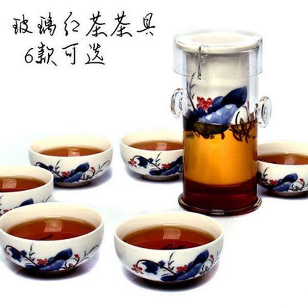 5Cgo【茗道】含稅會員有優惠 19885740250 耐熱雙耳紅茶玻璃泡茶器功夫茶具整套青花瓷內膽茶道茗杯 7件套