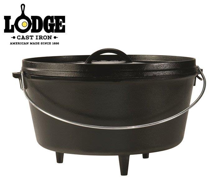 丹大戶外【LODGE】Camp Dutch Ove 8QT12吋深型附腳荷蘭鍋 鑄鐵材質 L12DCO3