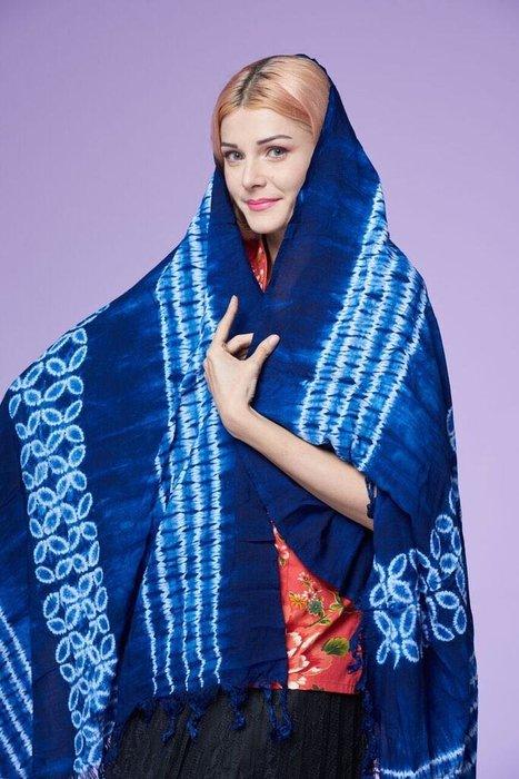 !!(中國藍Anewei)藍染紮染長圍巾F85*210CM-圍巾 沙龍 背心 披肩 洋裝 長裙 褲子(含套)