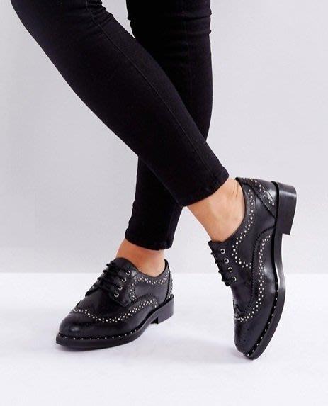 ◎美國代買◎ASOS鉚釘與巴洛克雕花裝飾鞋面英倫搖滾龐克風巴洛克鉚釘牛津平底鞋~歐美街風~大尺碼