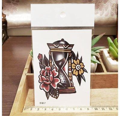 【萌古屋】】紅花朵沙漏 - 手背防水紋身貼紙刺青貼紙17 K12