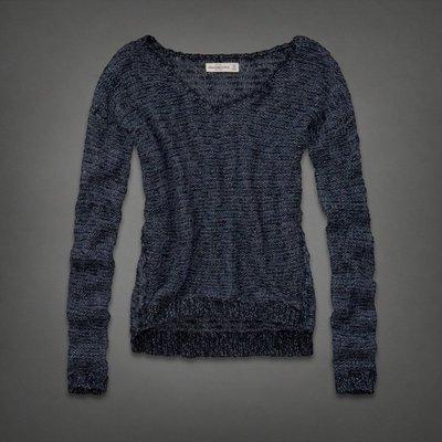 Maple麋鹿小舖 Abercrombie&Fitch * AF 藍色閃亮亮V領長袖毛衣 * ( 現貨M號 )