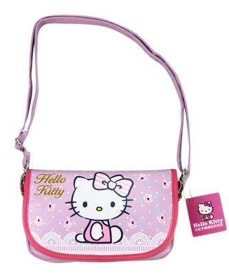 【卡漫迷】 Hello Kitty 可觸控 粉玫瑰 皮革 肩背包 ㊣版 斜背包 手機包 萬用 外出包 化妝包 側背包