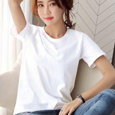 2021新款夏純白色T恤女寬松短袖圓領體桖半袖v領純色純棉百搭上衣