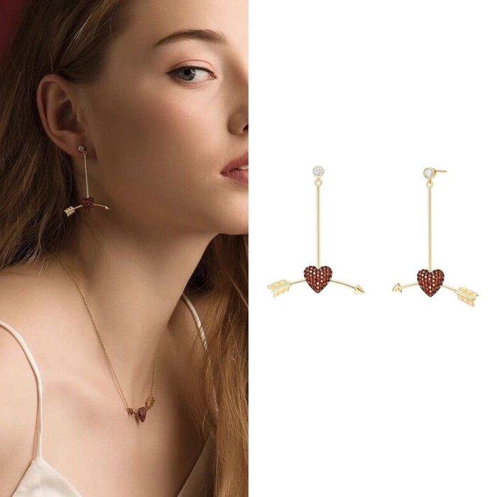💎938、(預購)中世紀情詩信羽系列-一箭穿心微鑲甜美耳環💎  Hermes 正韓 鑽石