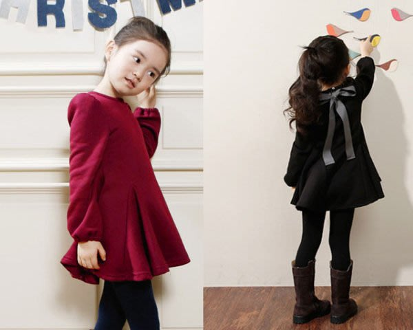 5Cgo 【鴿樓】20023345541 秋冬裝新款韓版 兒童裝女童 蝴蝶結加厚加絨長袖連衣裙子 小洋裝