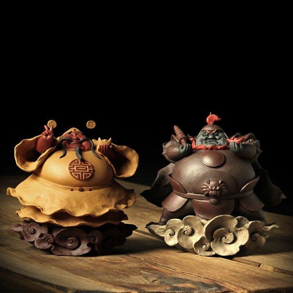 5Cgo【茗道】含稅會員有優惠 44769617573 宜興紫砂茶寵茶道泡茶茶壺茶杯茶玩精品雕塑擺件文武財神財神爺招財神