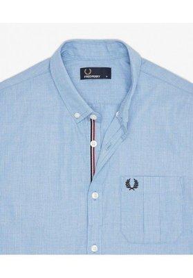 【噢飛炫】2017SS Fred Perry End on End Shirt  編織短袖襯衫 S 水藍