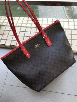 風格 COACH 全新正品 36876 新款火爆價PVC素面托特手提包 大容量 購物袋 肩背包 女包全場特價 附購買證明