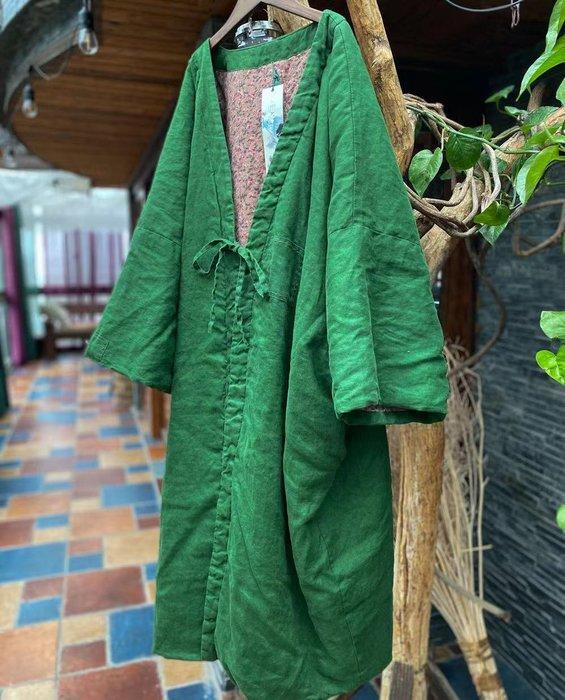【子芸芳】原創寬鬆繫帶對襟復古純亞麻棉衣外套棉袍外披