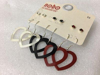 【飾界美~殺很大】歐美品牌 nobo 高質感銀黑紅愛心閃鑽造形針式耳環套組~現貨下標即售