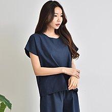 韓國亞麻短袖上衣七分褲兩件式 優雅質感上衣+鬆緊闊腿褲套裝 艾爾莎【TLS00158】