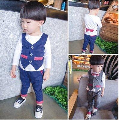 ♥ 【BS0090】QT-6514 韓版男童裝英國紳士風假兩件格子套裝 2色 (灰色 藍色 現貨) ♥
