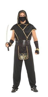 乂世界派對乂萬聖節服裝,萬聖節道具,變裝派對,大人變裝服/大人忍者服裝-神秘黑金男忍者