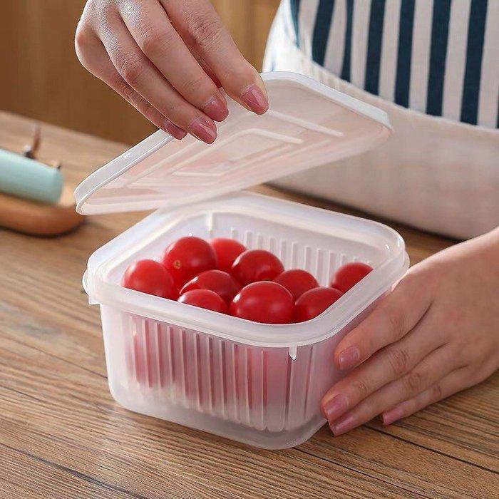 《日樣》  現貨台灣發貨  歡迎批發  方型瀝水保鮮盒 保鮮盒 收納盒 濾水保鮮盒 透明收納盒 瀝水盒 食物收納盒