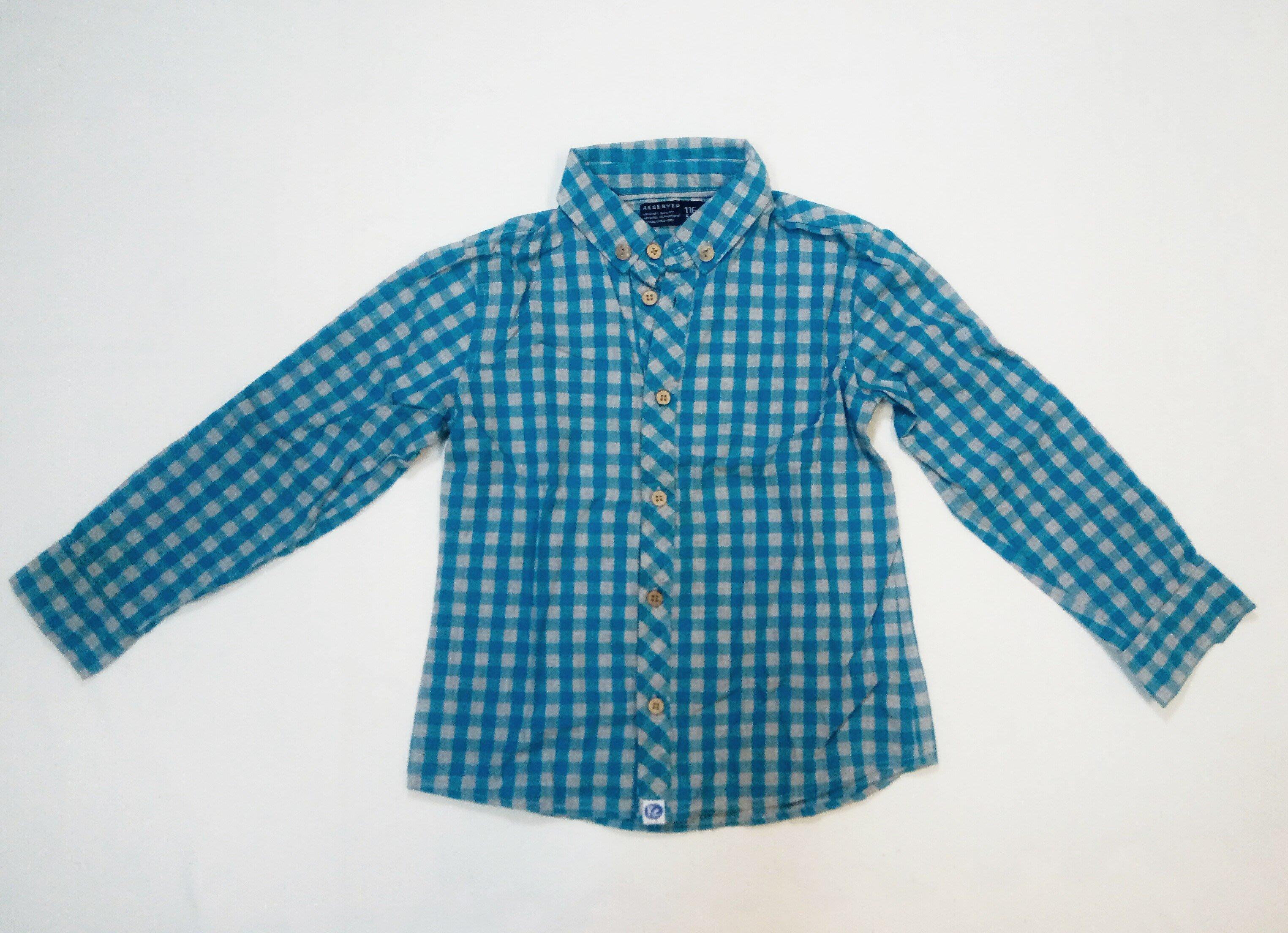 RESERVED 灰藍格紋兩用薄長袖襯衫5-6Y(116cm)  -- 二手  衣況佳!