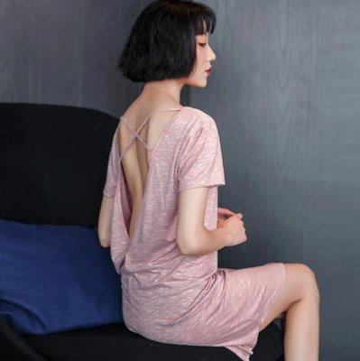 露背睡裙 短袖性感睡衣素面镂空莫代爾棉後背交叉居家服—莎芭