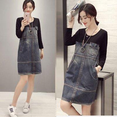 牛仔裙 #F-070 牛仔拼接寬鬆圓領設計款