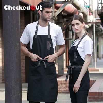 掛脖式圍裙 韓版時尚咖啡店服務員男女款掛脖圍裙工作服掛脖圍裙