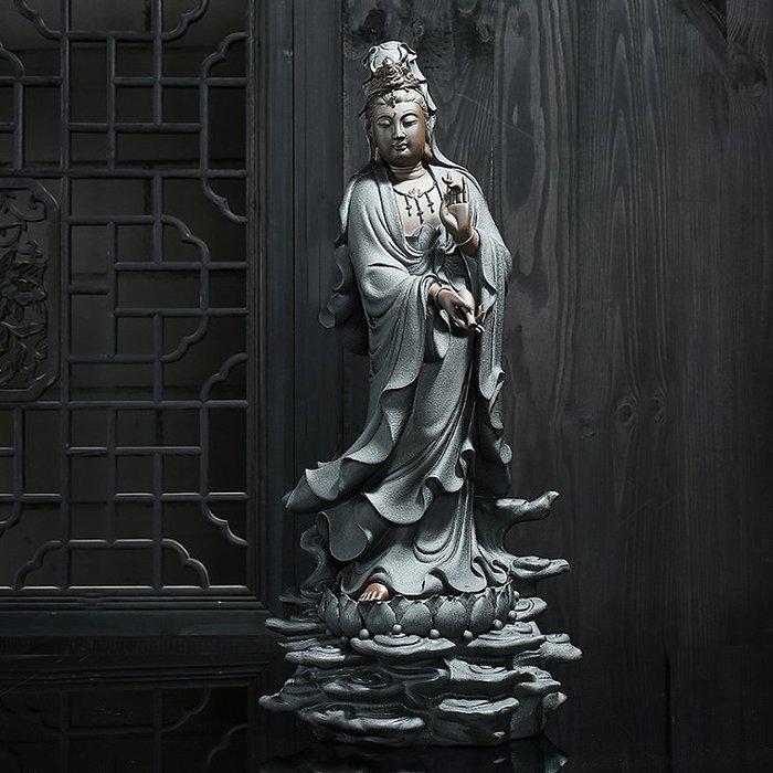 【睿智精品】陶瓷立蓮觀音佛像 南無觀世音菩薩佛像 法像莊嚴(GA-3663)