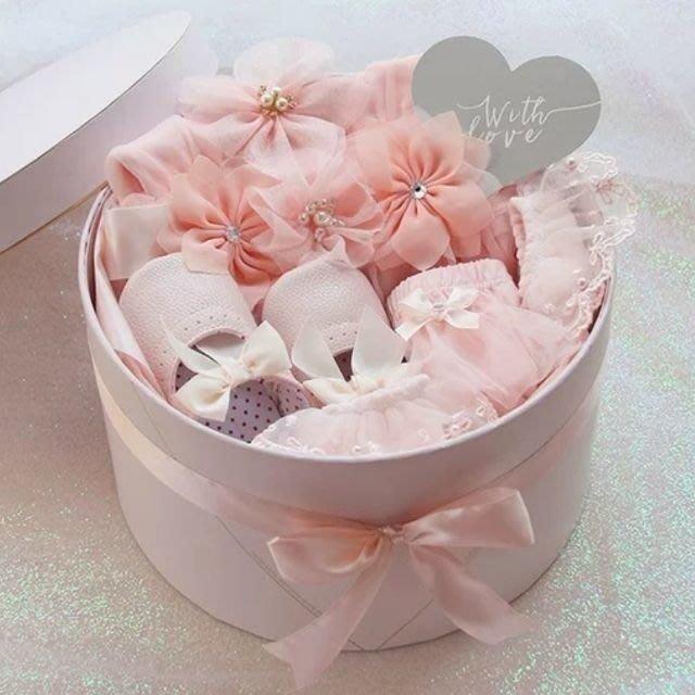 嬰兒女寶寶公主吊帶花朵裙滿月彌月禮盒(0-6 6-12 12-18)