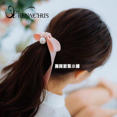 BHI1460-法國品牌RenaChris 韓國布藝珍珠蝴蝶結髮夾 馬尾夾 香蕉夾【韓國製】AngelRena
