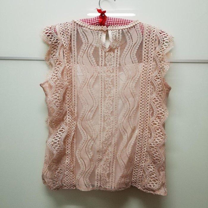 韓國品牌裸色蕾絲上衣L