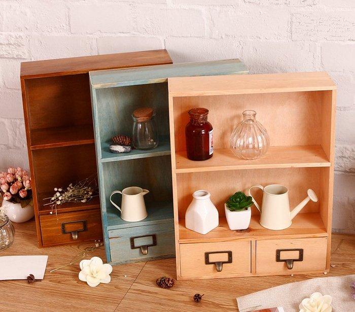 [大型物品 宅配免運]仿復古木櫃桌上收納盒 化妝品收納
