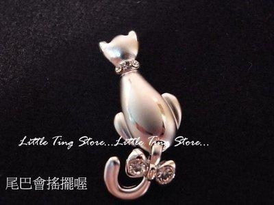母親節禮物 水晶鑽飾招財貓咪造型別針胸...