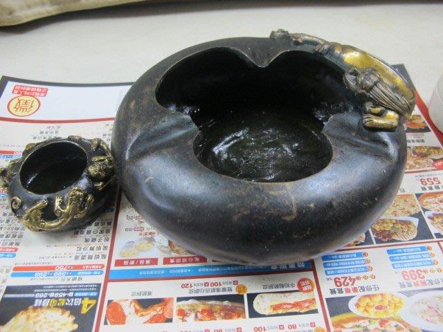 二手舖 NO.3231 純銅神獸造型菸灰缸 鎏金古董老件仿古 居家擺飾